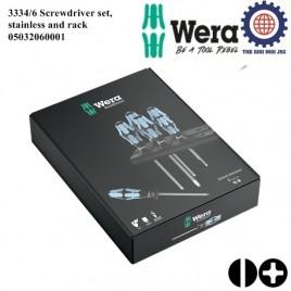 Bộ tua vít Wera thép không gỉ 3334/6 Screwdriver set, stainless and rack gồm 6 cái Wera 05032060001