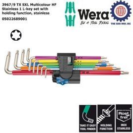 Bộ khóa lục giác hoa thị thép không gỉ nhiều màu sắc 3967/9 TX SXL Multicolour HF Stainless 1 với chức năng giữ Wera 05022689001
