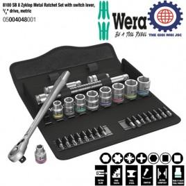 Bộ cần siết tròng cóc 8100 SB 8 Zyklop Metal với cần gạt, đầu vặn, ³∕8″, hệ mét – WERA 05004048001