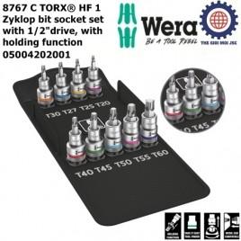 Bộ đầu tuýp vít hoa thị 1/2″ Zyklop 8767 C TORX® HF 1 (9 cái) với chức năng giữ – WERA 05004202001