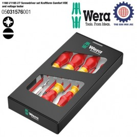 Bộ tua vít cách điện 7 cái 1160 i/1165 i/7 Screwdriver set Kraftform Comfort VDE and voltage tester ( PZ1, PZ2, vít dẹp) Wera 05031576001