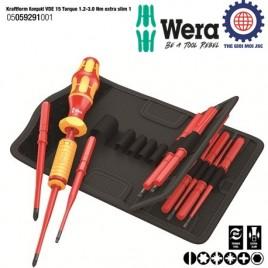 Bộ tua vít lực cách điện đa năng Kraftform Kompakt VDE 15 Torque 1.2-3.0 Nm extra slim 1 Wera 05059291001