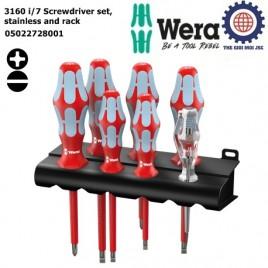 Bộ tua vít 3160 i/7 cách điện thép không gỉ gồm 7 chiếc Wera 05022728001