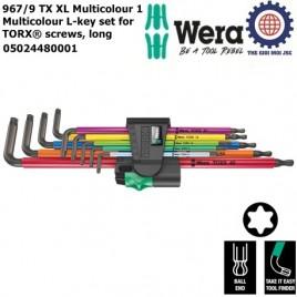 Bộ lục giác hoa thị dài nhiều màu sắc ( không lỗ), 9 cái, 967/9 TX XL Multicolour 1 – Wera 05024480001