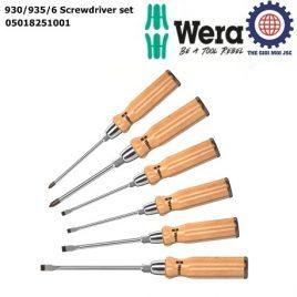 Tua vít cán gỗ cao cấp Wera đóng được 930/935/6 Screwdriver set Wera 05018251001