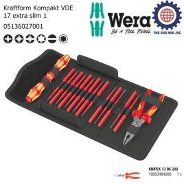 Bộ tua vít cách điện Wera 17 cái Kraftform Kompakt VDE 17 extra slim với kìm cắt điện đa năng của hãng Knipex 13 96 200 – Wera 05136027001