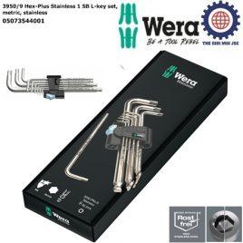 Bộ lục giác bi thép không gỉ Wera 3950/9 Hex-Plus Stainless 1 SB mã 05073544001 gồm 9 cái kèm kẹp nhựa